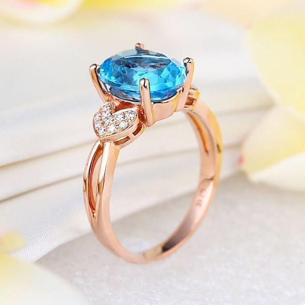 Swiss Blue Topaz (3.5ct) Ring in 14k Rose Gold with Diamonds (0.128ct) 14K Gold Engagement Rings Oanthan