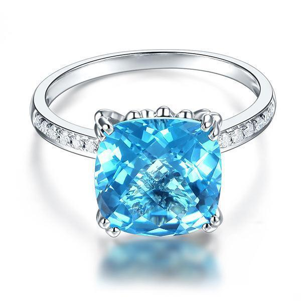 Swiss Blue Topaz (4.5ct) Ring in 14k White Gold with Diamonds (0.1ct) 14K Gold Engagement Rings Oanthan