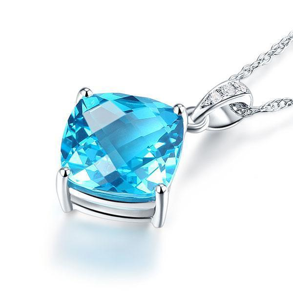 Swiss Blue Topaz (4ct) in 14k White Gold Pendant with Diamonds (0.03ct) 14K Gold Pendants Oanthan