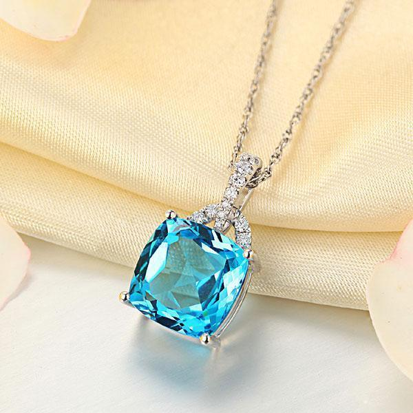 Swiss Blue Topaz (4ct) in 14k White Gold Pendant with Diamonds (0.1ct) 14K Gold Pendants Oanthan