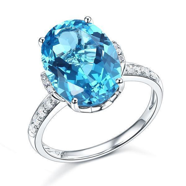 Swiss Blue Topaz ( 6.5ct) Ring in 14k White Gold with Diamonds (0.04ct) 14K Gold Engagement Rings Oanthan 14k White Gold US Size 4