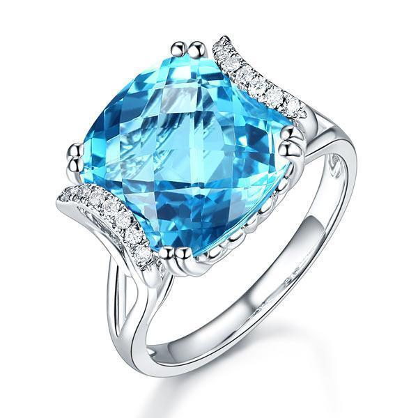Swiss Blue Topaz (9.65ct) Ring in 14k White Gold with Diamonds (0.1ct) 14K Gold Engagement Rings Oanthan 14k White Gold US Size 4