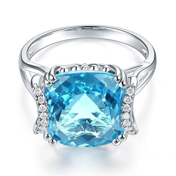 Swiss Blue Topaz (9.65ct) Ring in 14k White Gold with Diamonds (0.1ct) 14K Gold Engagement Rings Oanthan