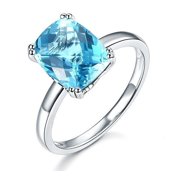 Swiss Blue Topaz Ring in 14k White Gold (3.9ct) 14K Gold Engagement Rings Oanthan 14k White Gold US Size 4