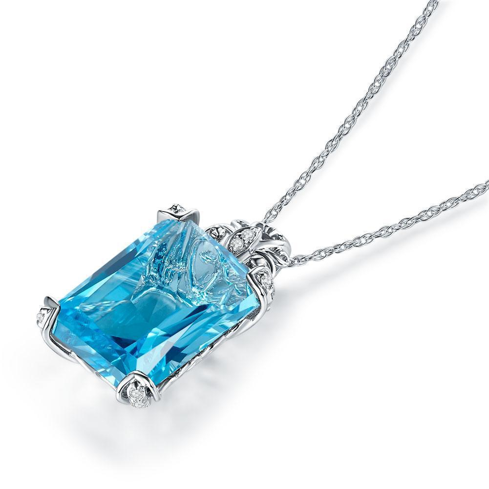 Swiss Blue Topaz Vintage-style Pendant in 14k White Gold with Diamonds (13ct) 14K Gold Pendants Oanthan