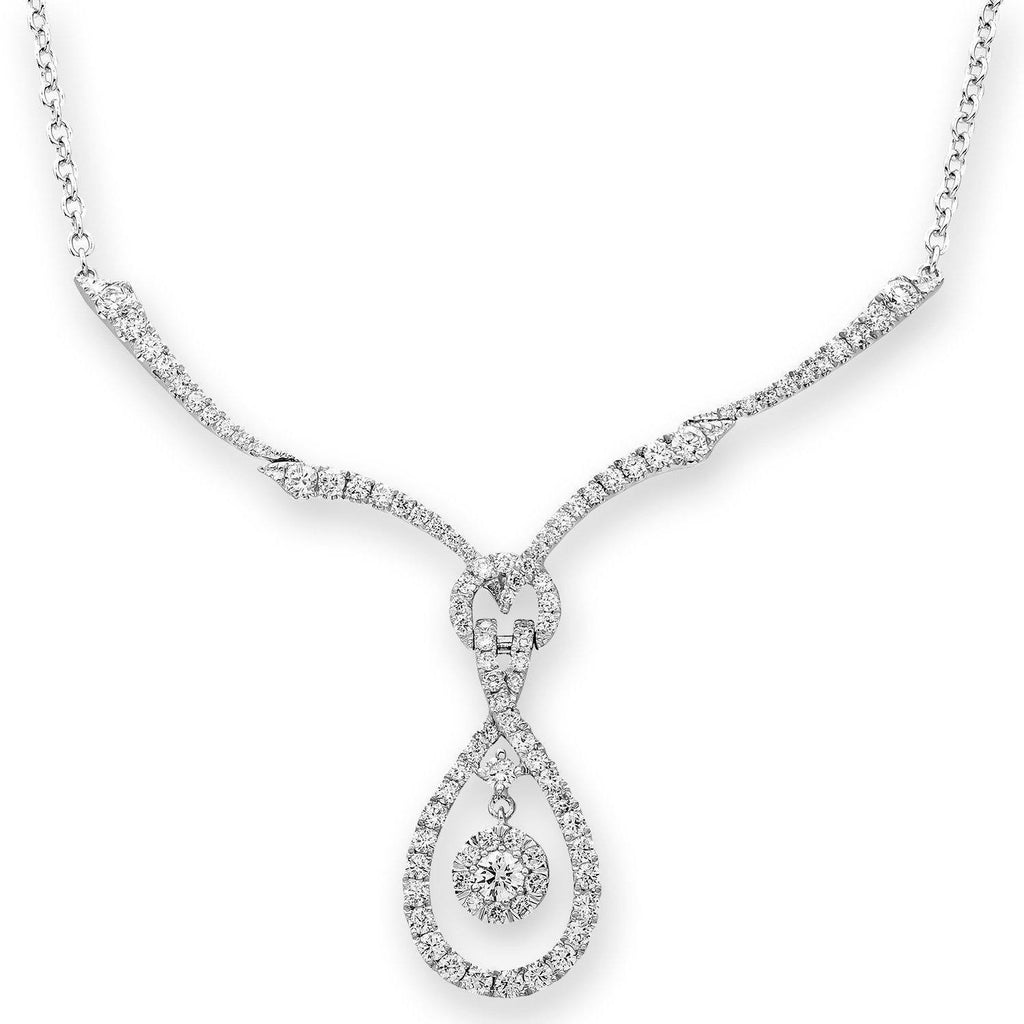 Teardrop Necklace in 18k White Gold with Diamonds (0.872ct) Necklace IAD