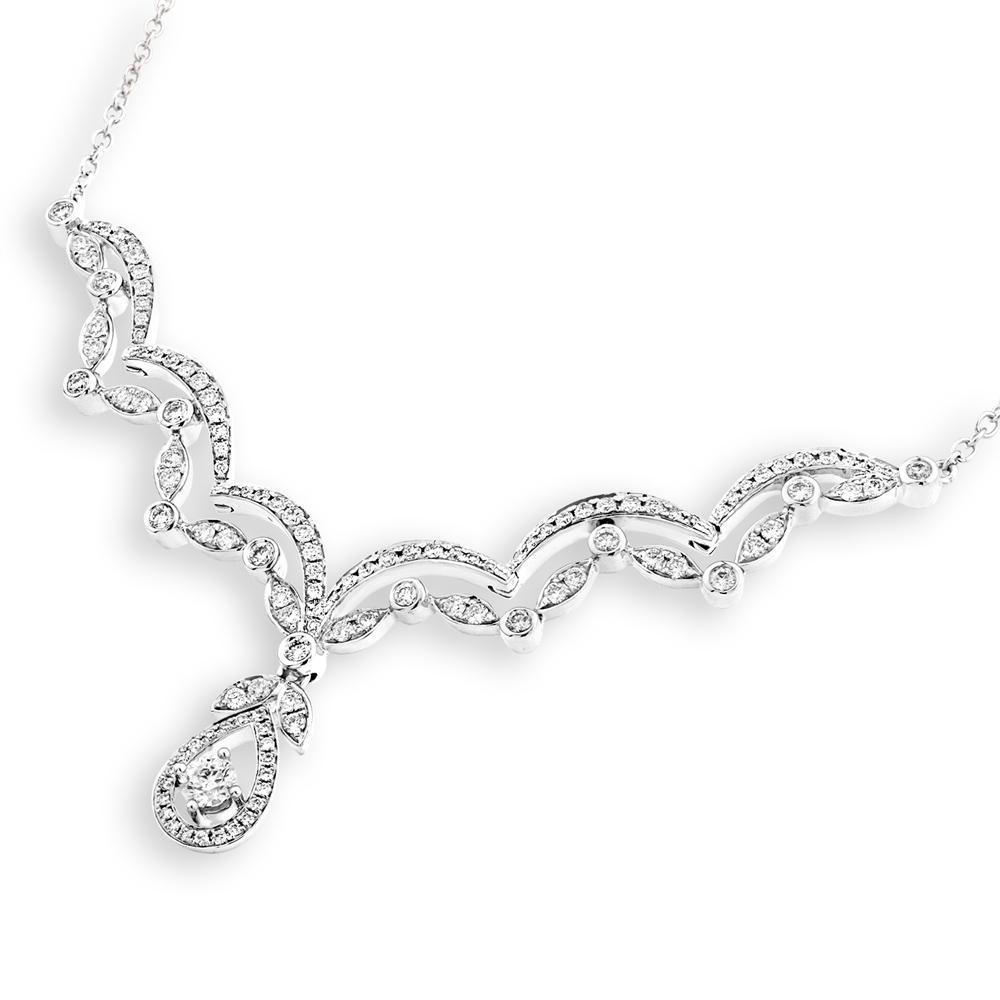 Teardrop Necklace in 18k White Gold with Diamonds (1.012ct) Necklace IAD