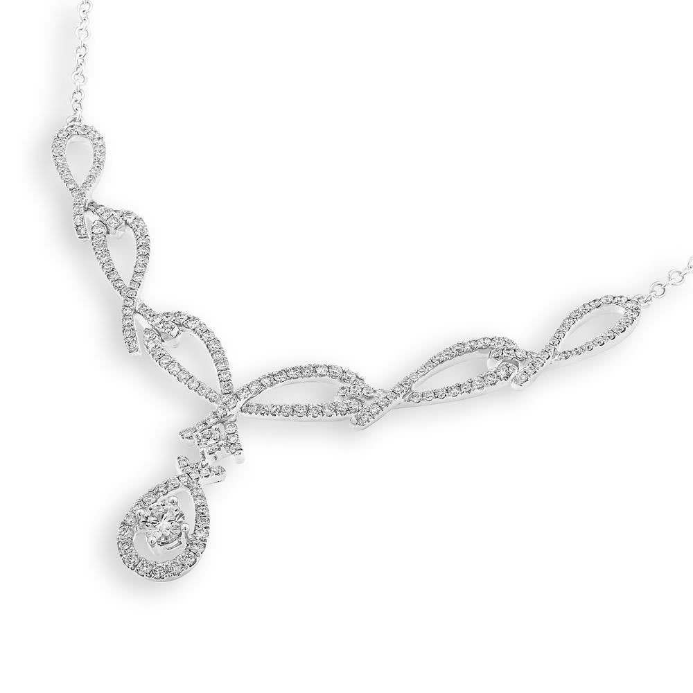 Teardrop Necklace in 18k White Gold with Diamonds (1.16ct) Necklace IAD