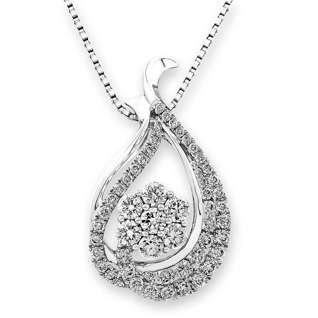 Teardrop Pendant in 18k White Gold with Diamonds (1.124ct) Pendant IAD