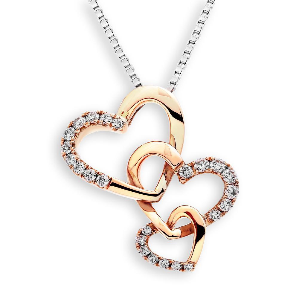Triple Heart Pendant in 18k Rose Gold with Diamonds (0.189ct) Pendant IAD