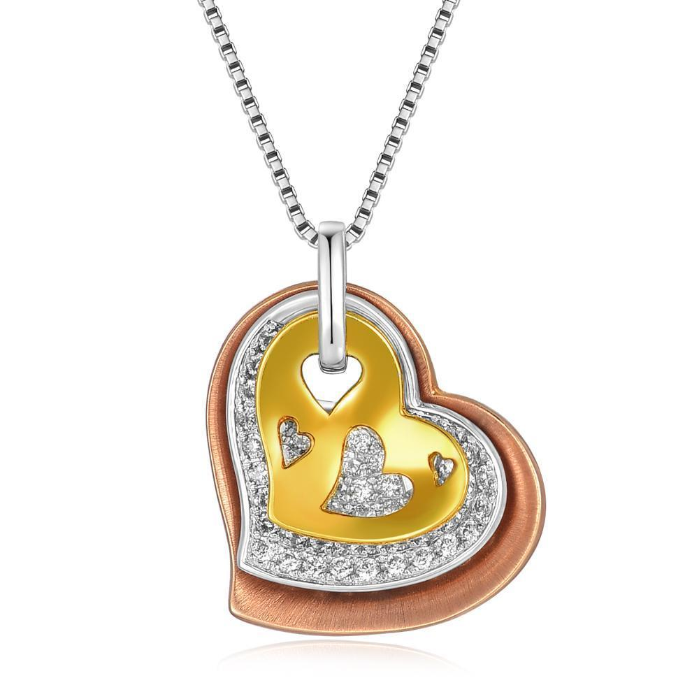 Triple Heart Pendant in 18k White, Rose & Yellow Gold with Diamonds (0.302ct) Pendant IAD