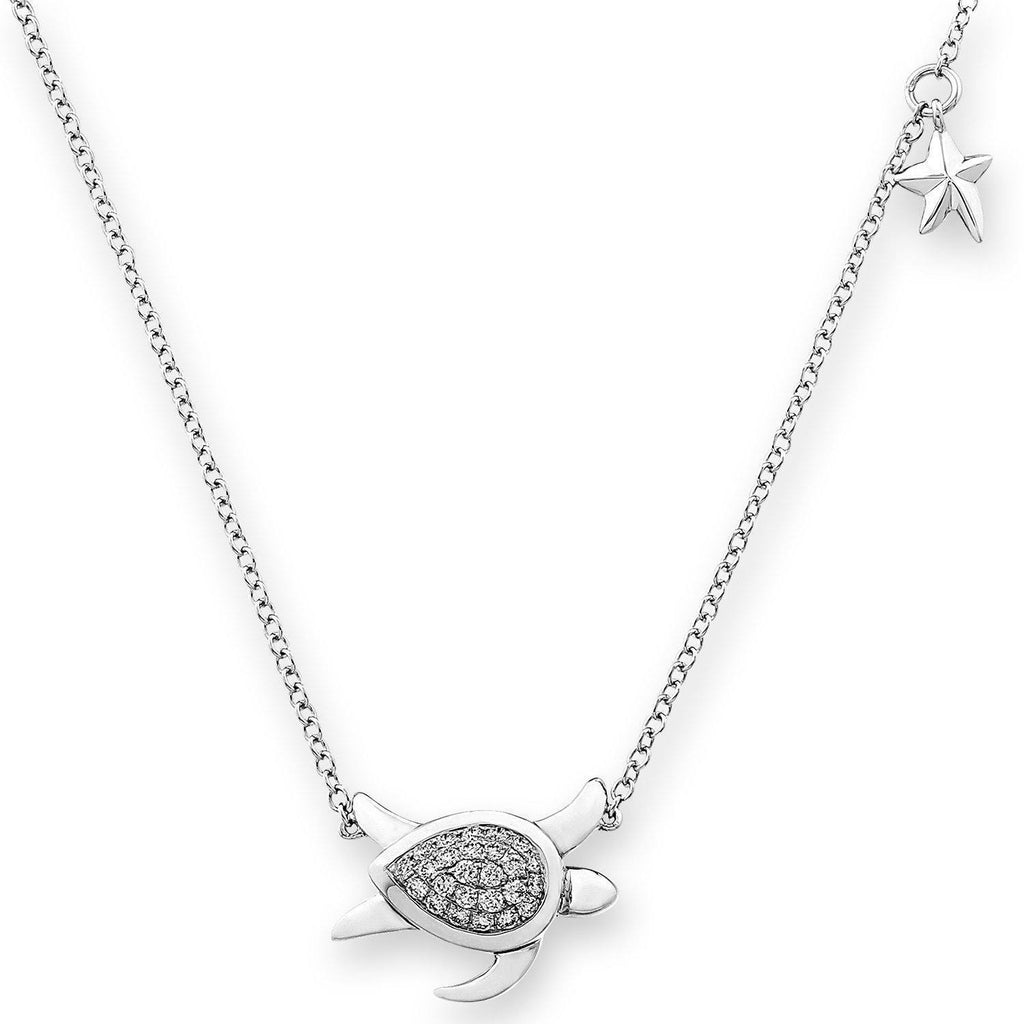 Turtle Necklace in 18k White Gold with Diamonds (0.271ct) Necklace IAD