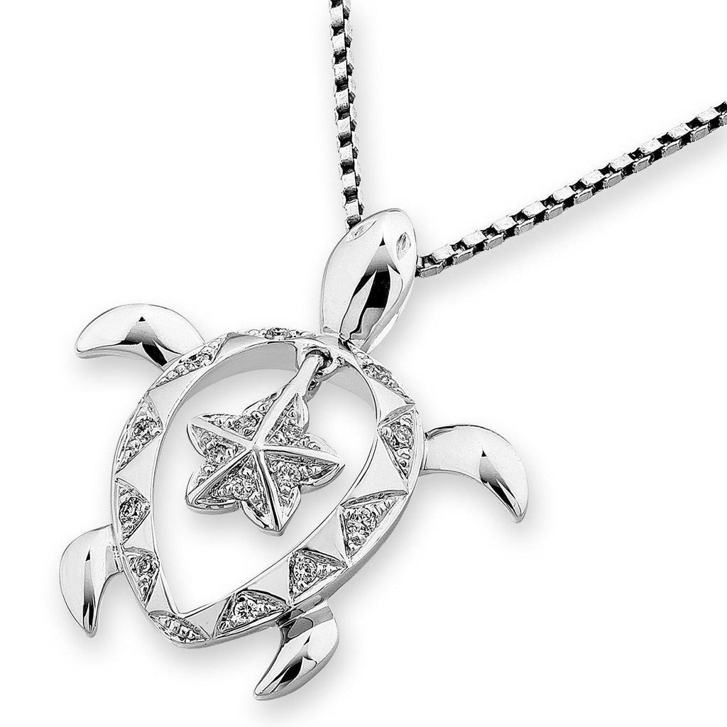 Turtle Pendant in 18k White Gold with Diamonds (0.063ct) Pendant IAD