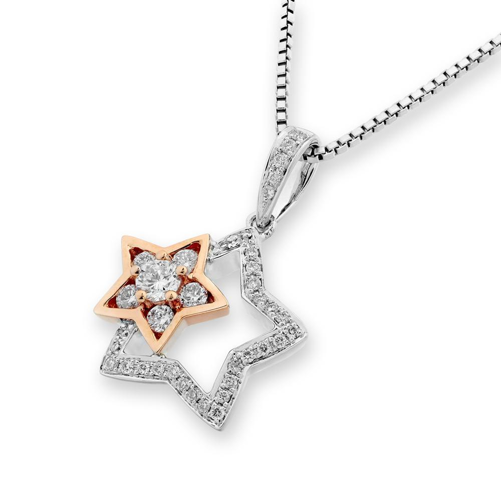 Two-Piece Star Pendant in 18k White & Rose Gold with Diamonds (0.271ct) Pendant IAD