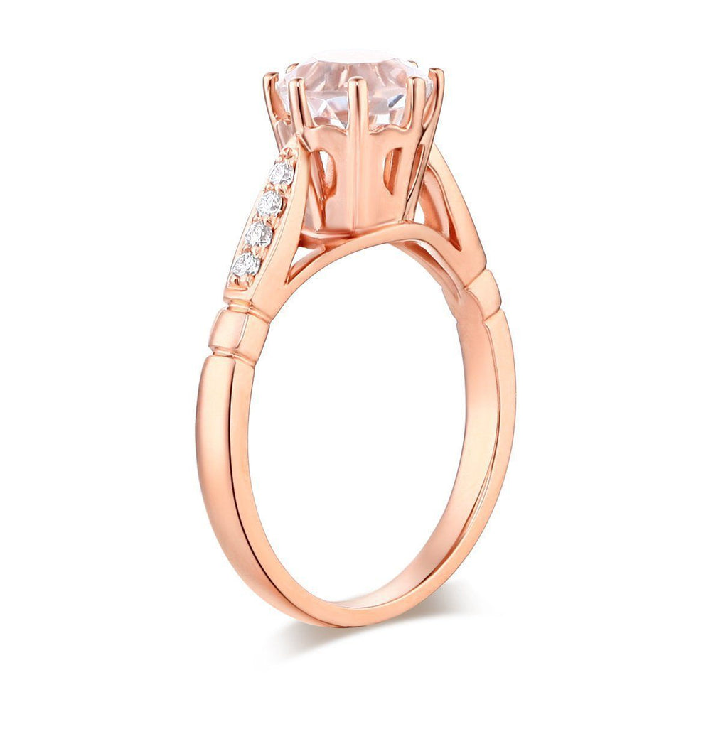 White Topaz (1.2ct) Ring in 14k Rose Gold with Diamonds (0.106ct) 14K Gold Engagement Rings Oanthan