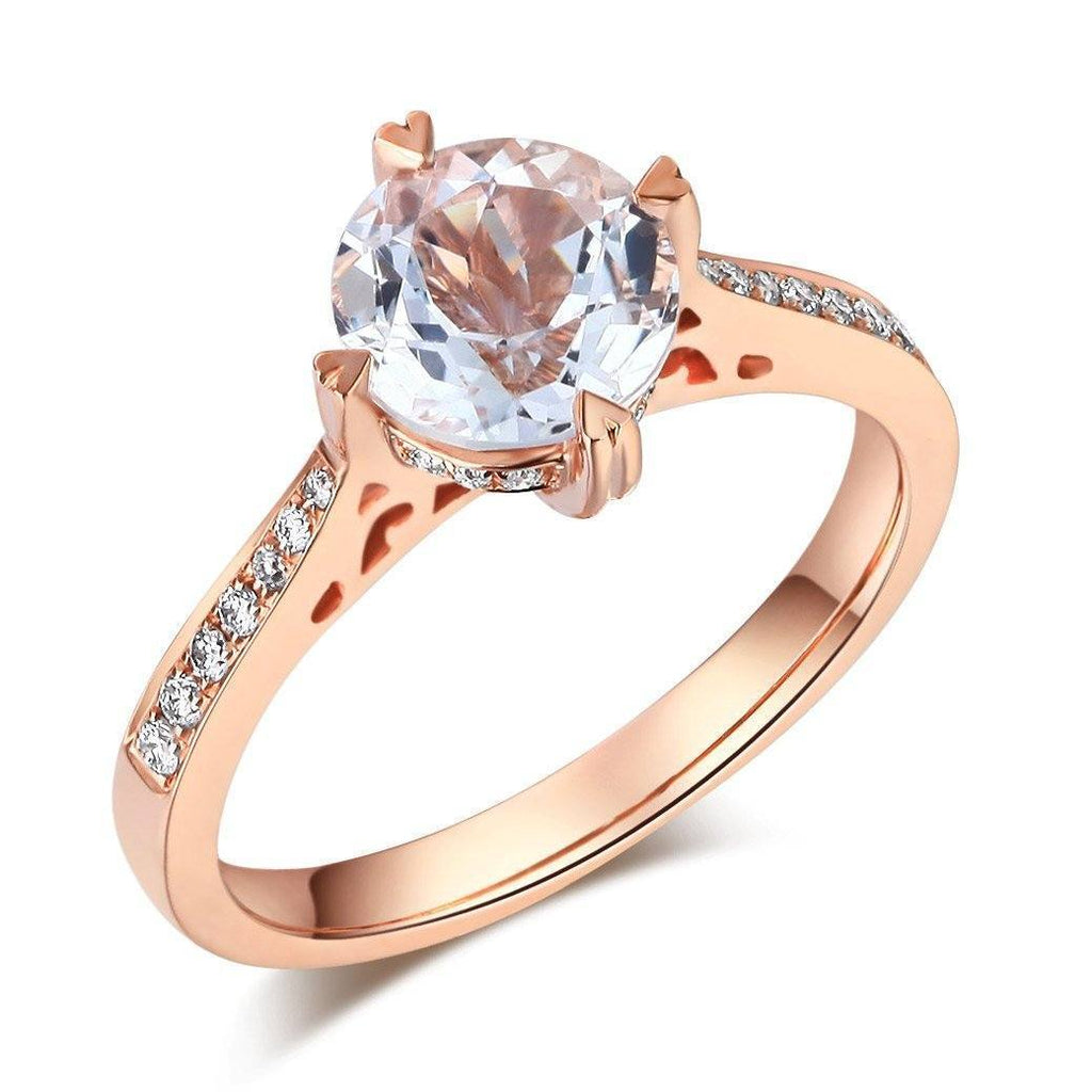 White Topaz (1.2ct) Ring in 14k Rose Gold with Diamonds (0.135ct) 14K Gold Engagement Rings Oanthan 14k White Gold US Size 4