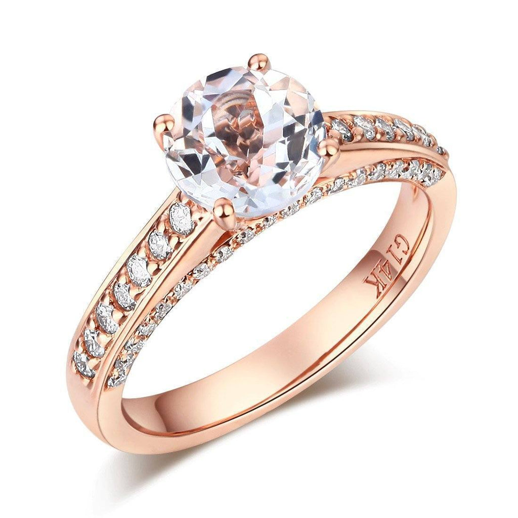 White Topaz (1.2ct) Ring in 14k Rose Gold with Diamonds (0.426ct) 14K Gold Engagement Rings Oanthan 14k White Gold US Size 4