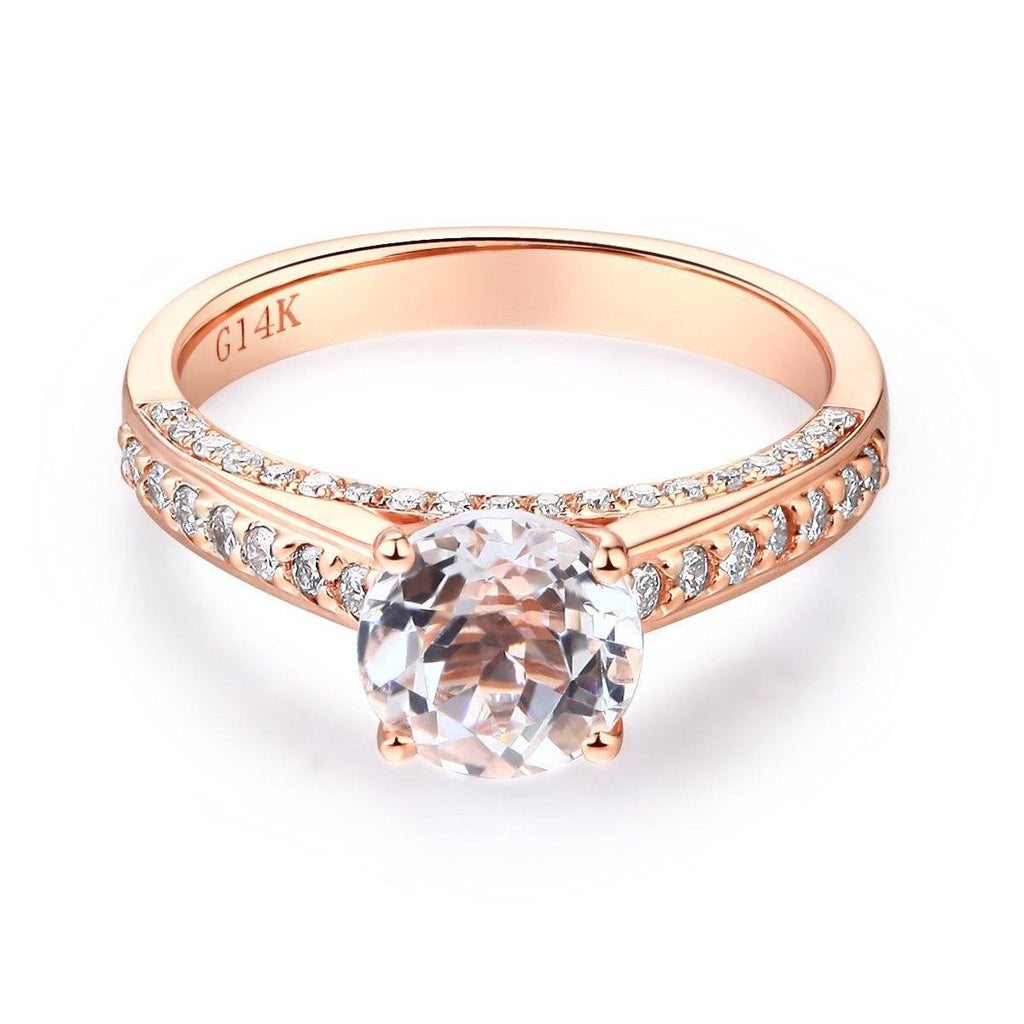 White Topaz (1.2ct) Ring in 14k Rose Gold with Diamonds (0.426ct) 14K Gold Engagement Rings Oanthan