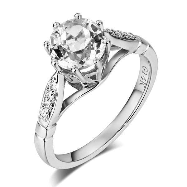 White Topaz (1.2ct) Ring in 14k White Gold with Diamonds (0.106) 14K Gold Engagement Rings Oanthan 14k White Gold US Size 4