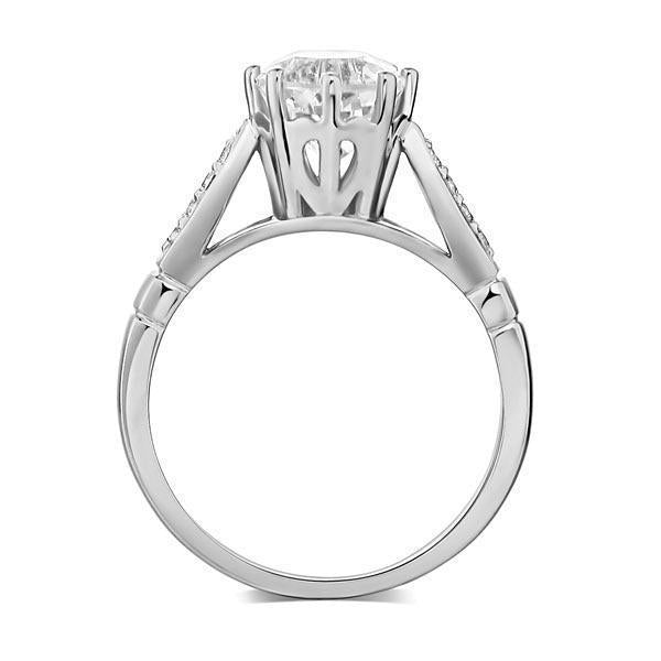 White Topaz (1.2ct) Ring in 14k White Gold with Diamonds (0.106) 14K Gold Engagement Rings Oanthan
