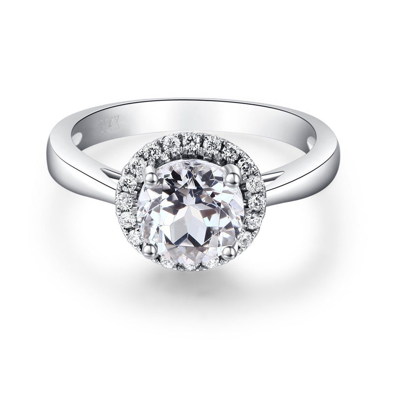 White Topaz (1.2ct) Ring in 14k White Gold with Diamonds (0.16ct) 14K Gold Engagement Rings Oanthan