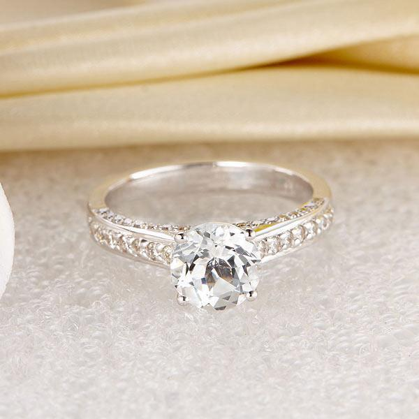 White Topaz (1.2ct) Ring in 14k White Gold with Diamonds (0.426ct) 14K Gold Engagement Rings Oanthan