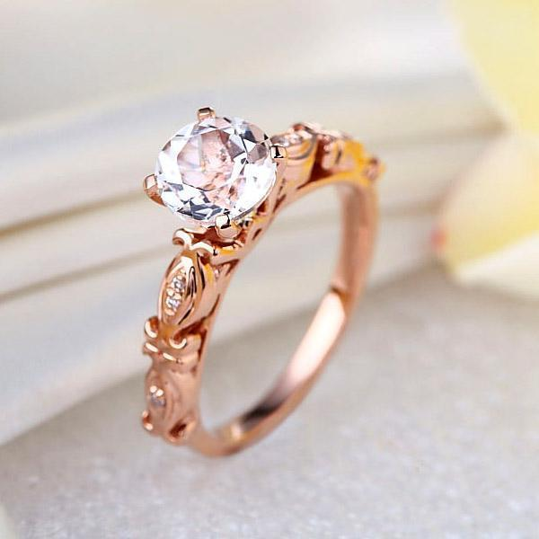 White Topaz (1.2ct) Vintage-Style Ring 14k Rose Gold with Diamonds (0.052ct) 14K Gold Engagement Rings Oanthan