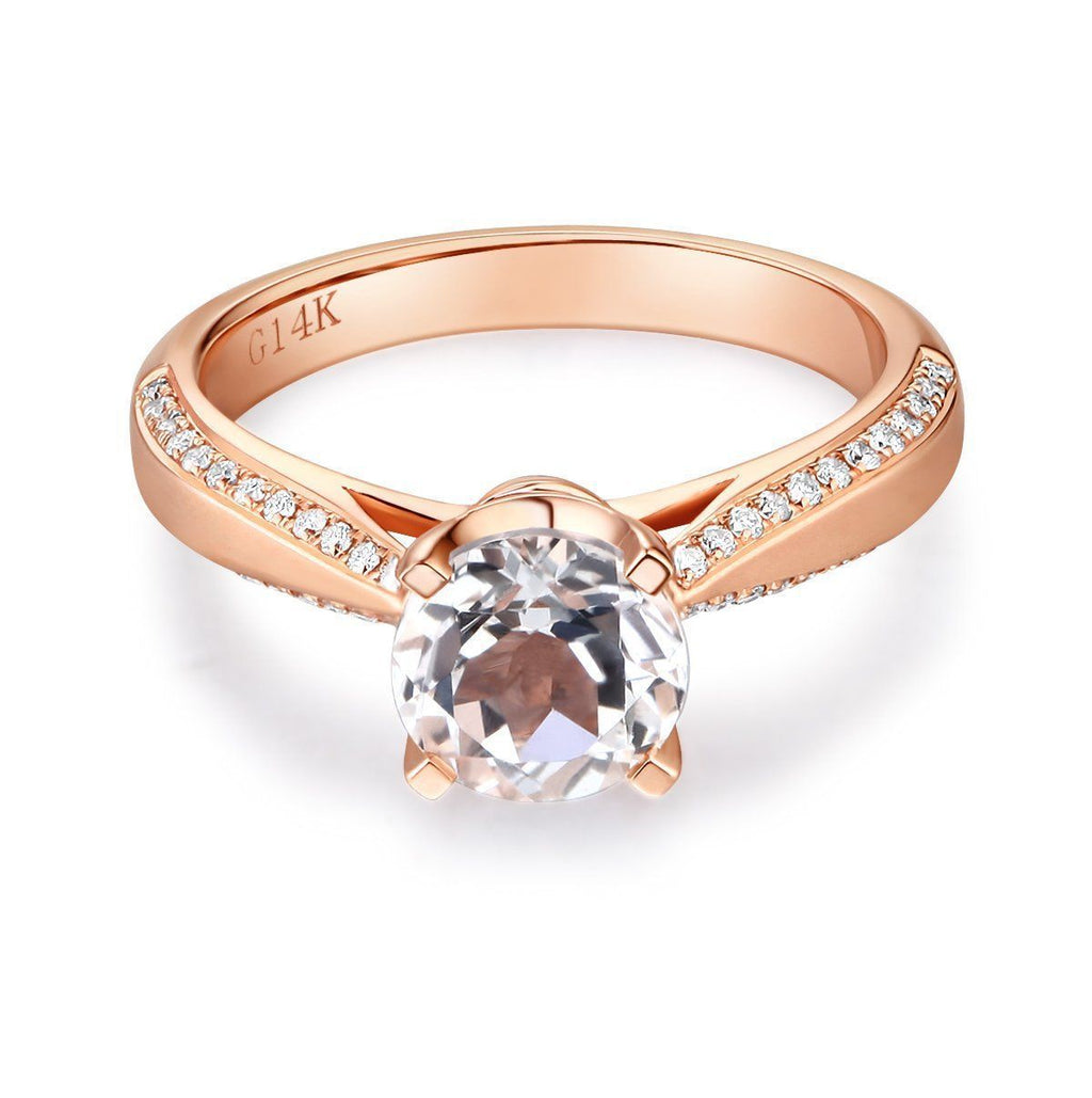 White Topaz (1.2ct) Vintage-Style Ring in 14k Rose Gold with Diamonds (0.216ct) 14K Gold Engagement Rings Oanthan