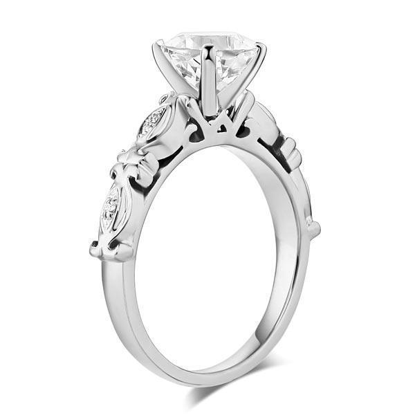 White Topaz ( (1.2ct) Vintage-Style Ring in 14k White Gold with Diamonds (0.052ct) 14K Gold Engagement Rings Oanthan
