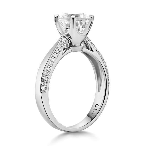 White Topaz (1.2ct) Vintage-Style Ring in 14k White Gold with Diamonds (0.216ct) 14K Gold Engagement Rings Oanthan