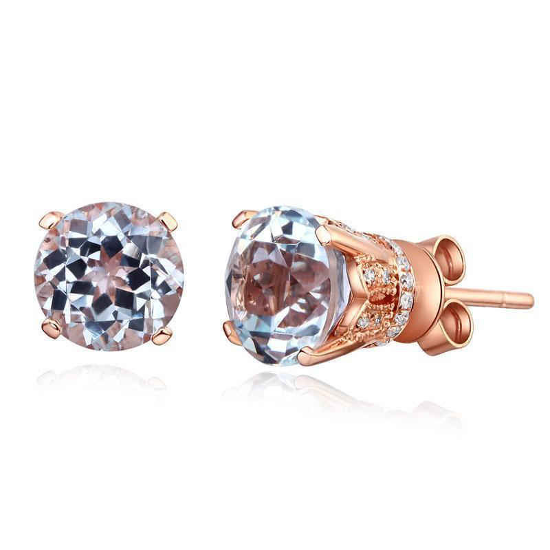 White Topaz (1.55ct) Vintage-Style Earrings in 14k Rose Gold with Diamonds (0.12ct) 14K Gold Earrings Oanthan