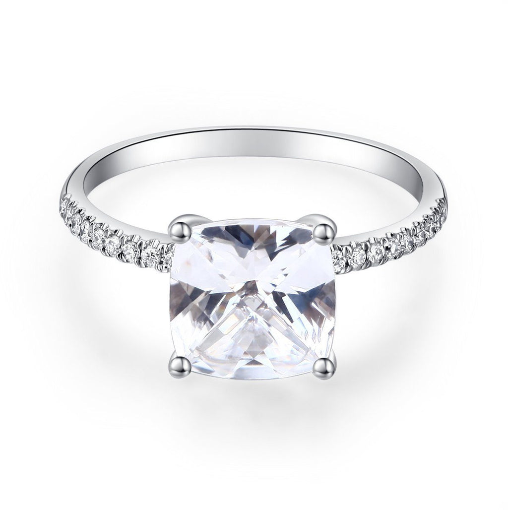White Topaz (2.5ct) Ring in 14k White Gold with Diamonds (0.126ct) 14K Gold Engagement Rings Oanthan