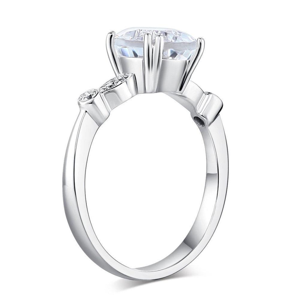 White Topaz (2ct) Ring in 14k White Gold with Diamonds (0.074ct) 14K Gold Engagement Rings Oanthan