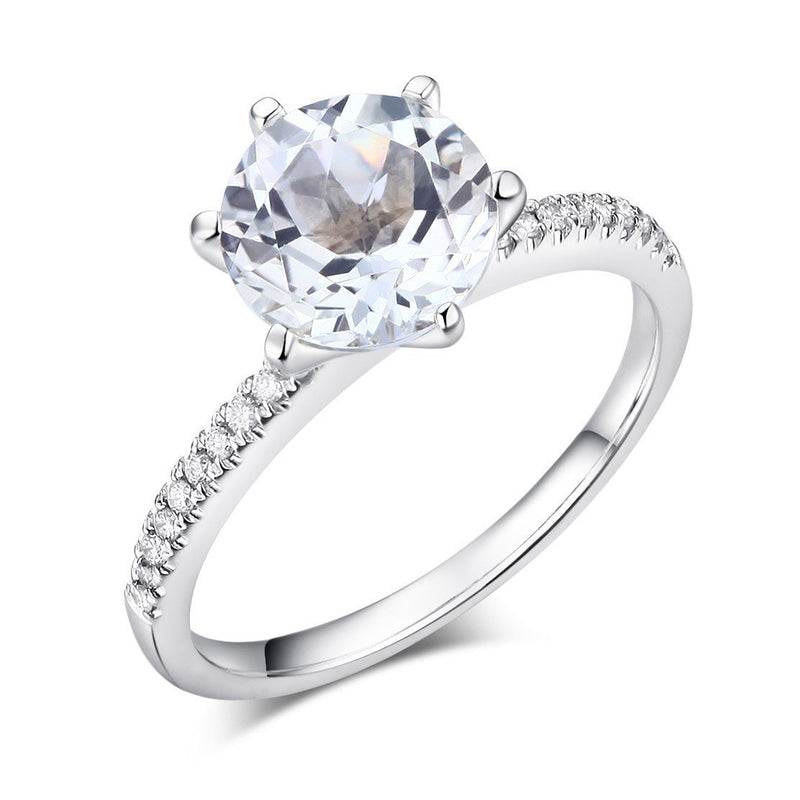 White Topaz (2ct) Ring in 14k White Gold with Diamonds (0.12ct) 14K Gold Engagement Rings Oanthan 14k White Gold US Size 4