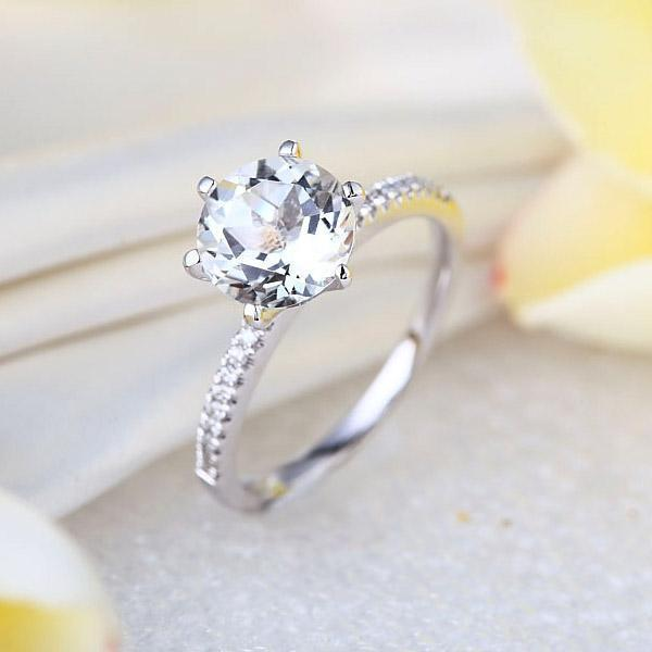 White Topaz (2ct) Ring in 14k White Gold with Diamonds (0.12ct) 14K Gold Engagement Rings Oanthan