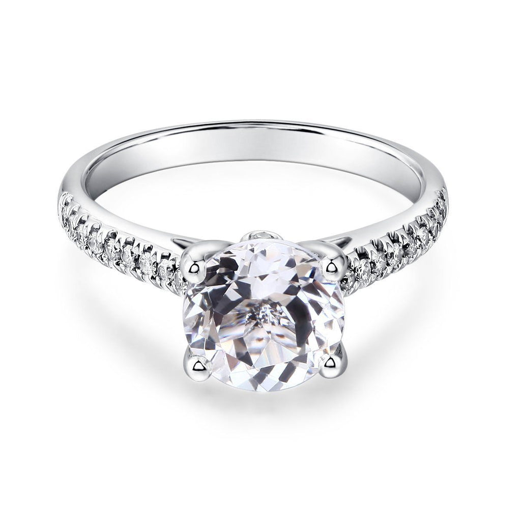 White Topaz (2ct) Ring in 14k White Gold with Diamonds (0.186ct) 14K Gold Engagement Rings Oanthan