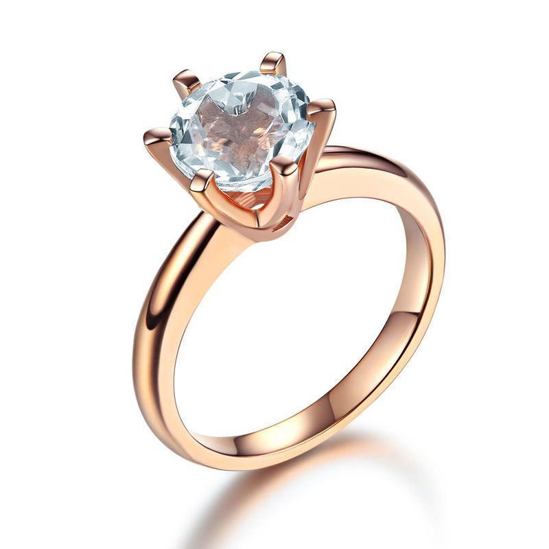 White Topaz (2ct) Solitaire Ring in 14k Rose Gold 14K Gold Engagement Rings Oanthan 14k White Gold US Size 4