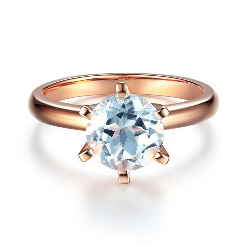 White Topaz (2ct) Solitaire Ring in 14k Rose Gold 14K Gold Engagement Rings Oanthan