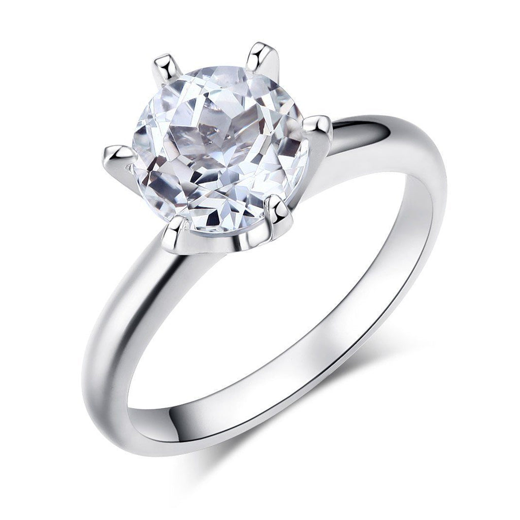 White Topaz Solitaire (2ct) Ring in 14k White Gold 14K Gold Engagement Rings Oanthan 14k White Gold US Size 4