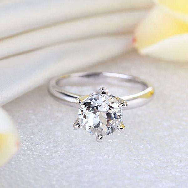White Topaz Solitaire (2ct) Ring in 14k White Gold 14K Gold Engagement Rings Oanthan