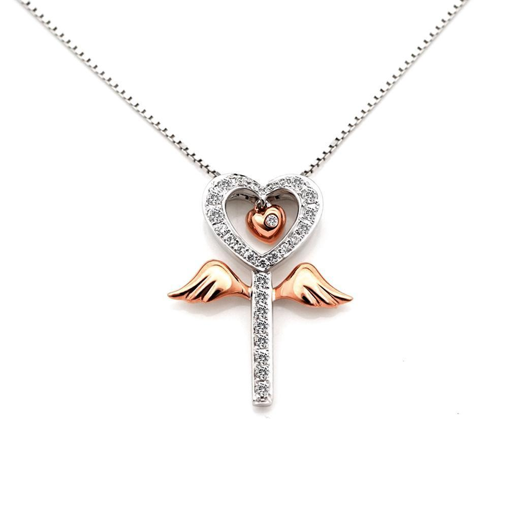 Winged-Heart Pendant in 18k White & Rose Gold with Diamonds (0.135ct) Pendant IAD