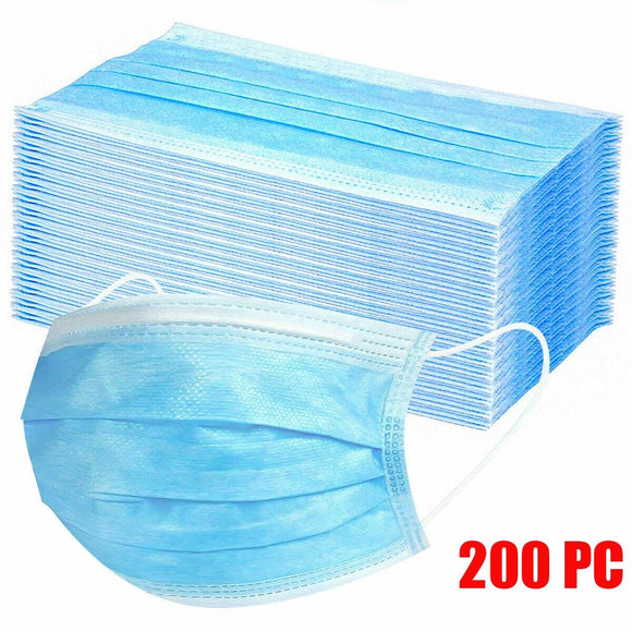 1/200 Pcs 3 Layers Non-Woven Disposable Mask Anti Pollution Mask Protection Fabric Dust Mouth Mask Facial Protective Cover Mask