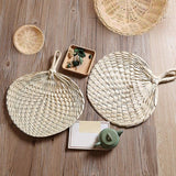 1 Pc Cooling Fan DIY Handmade Heart Shaped Bamboo Woven Fans Summer Party Tools Pure Artificial DIY Pure Woven Cooling Fan