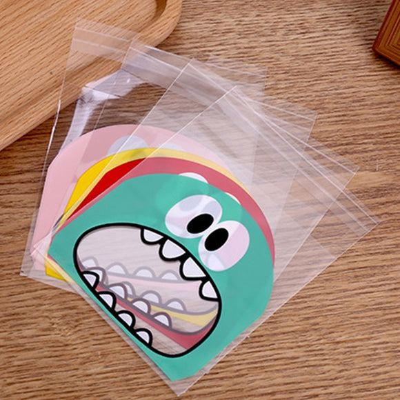 100pcs Cute Cartoon Monster Cookie Candy Bag Self Adhesive Plastic Packing Bag Wedding Party Biscuits Baking Package Supplies  MartLion