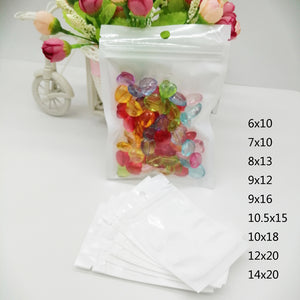100pcs Zipper Plastic Bag Gift Reusable Ziplock Bag For Clothes Half Clear Transparent Plastic Bags With Hanging Hole Pearl Bags  MartLion