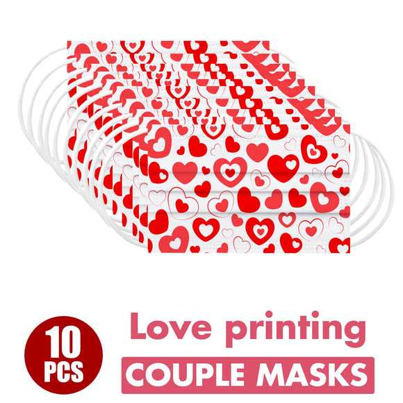 10PCS Máscara Disposable  Fast delivery Masque Headband Adult Valentine's Day Heart Anti-dust 3Ply Protect Face Mask Маска Maske