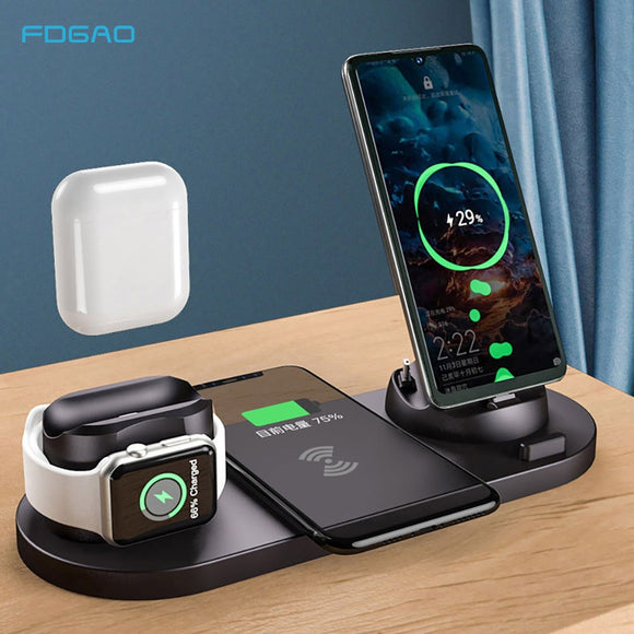 10W Qi Wireless Charger Stand For iPhone 12 11 Pro XS XR X 8 Fast Charging Dock Station For Apple Watch 2 3 4 5 6 SE AirPods Pro