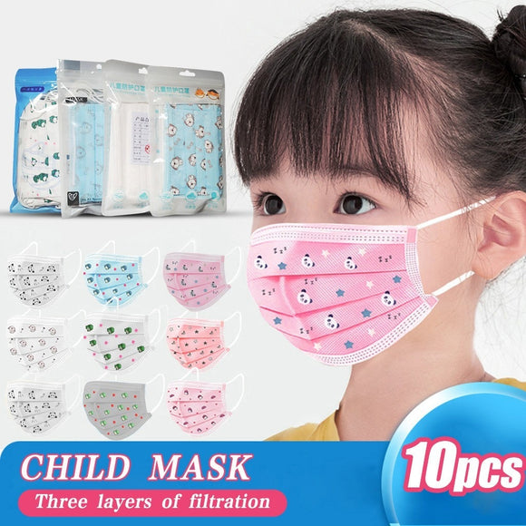 10pc Children Kids Mouth Cover Disposable Mask Mask 3-layer Non-woven Protection Mouth Masks Kids Bandage Maseczki Mascsrillas