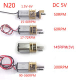 10pcs/lot DC 3V-6V  50RPM 60RPM 145RPM 300RPM N20 Gear Motor Full Metal Gearbox Gear Reducer Electric Motor  Swing Arm Shaft  MartLion