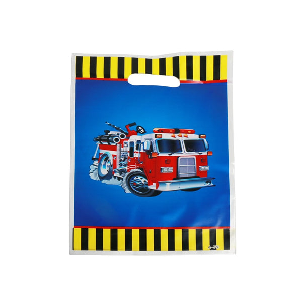 10pcs/lot Fire Truck Gift Bag For Baby's Birthday Party Plastic Loot Bag Children Baby Shower Candy Bag Decoration Accessory  MartLion.com